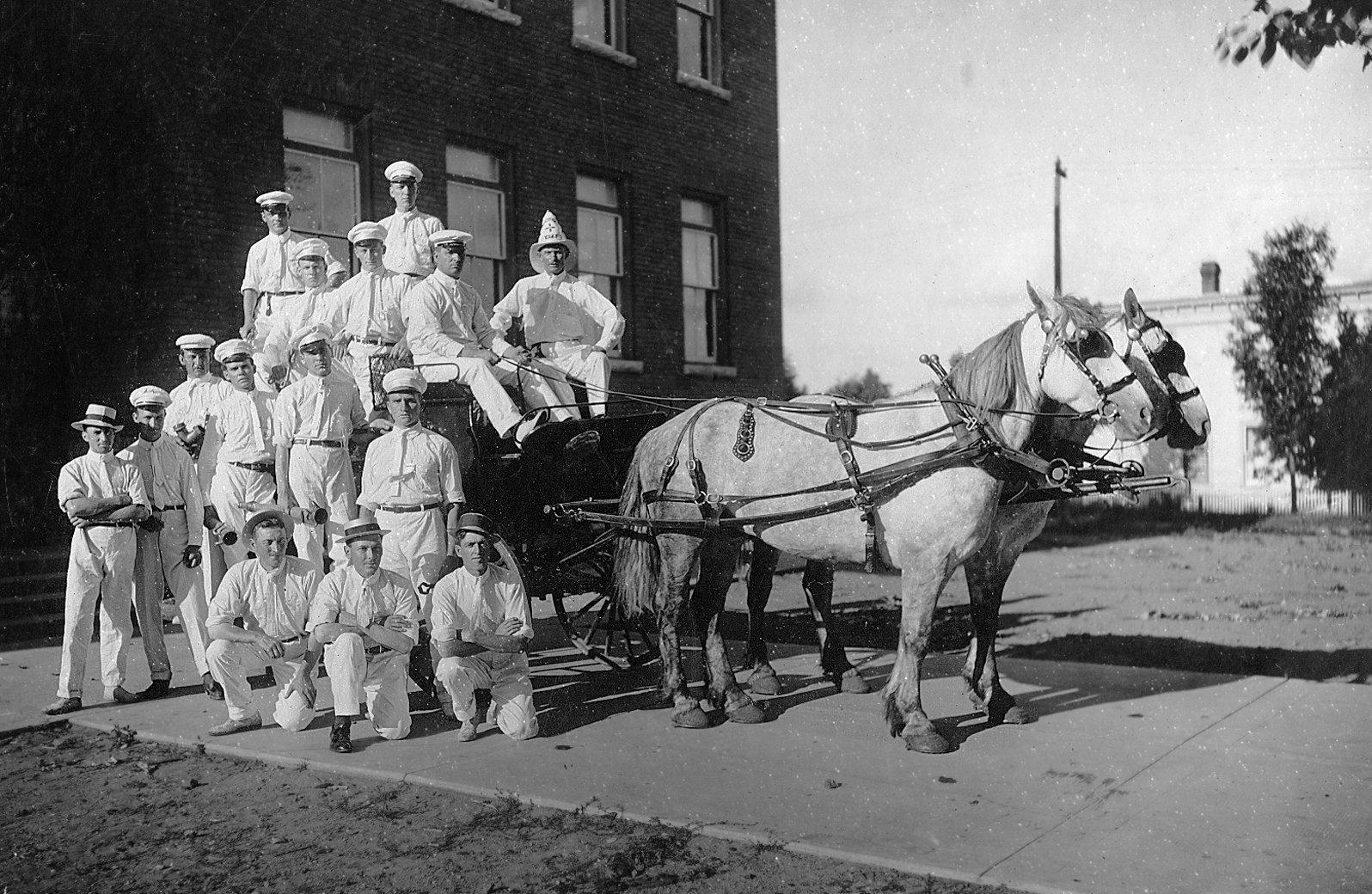 Huntsville Fire Brigade in front of the Huntsville Public School at the corner of Centre and Caroline Streets, Huntsville, Ontario.
