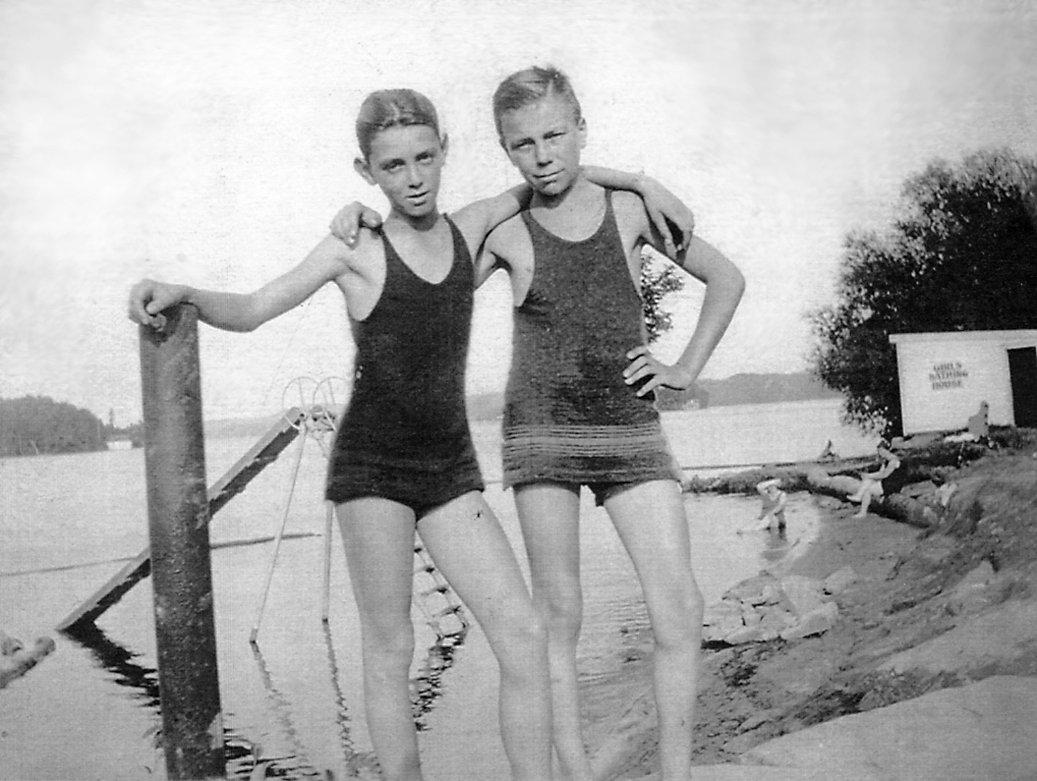 Sam Allemano and Attillo Grosso display swimming attire, Huntsville, Ontario.