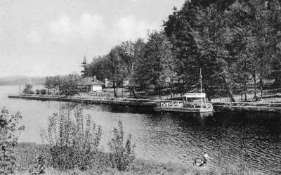 Memorial Park, Huntsville, Ontario.  Swimming and camping facilities at the mouth of the Muskoka River and Fairy Lake at the base of Lookout Mountain.