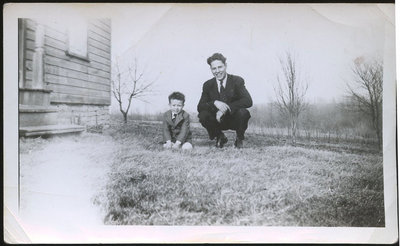 Clifford John (4 yrs old, brother to Sharon John), and Harold Maracle (Uncle to Clifford)