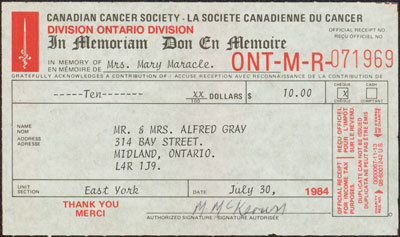 Cancer Society Donation Receipt