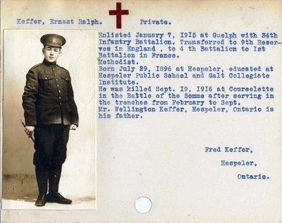 Soldier Information Cards - World War One