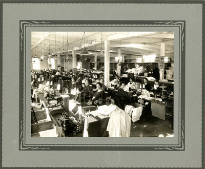 Women workers in sewing room at Lang's Shirt Factory, Kitchener, Ontario