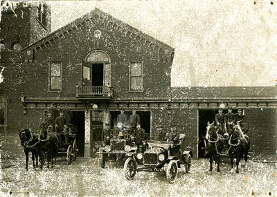 Berlin Fire Department members and fire hall