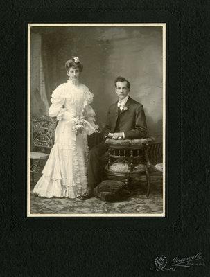 Unidentified couple in wedding attire