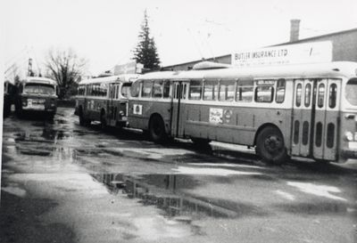 Kitchener Public Utilities Commission trolley buses at car barn