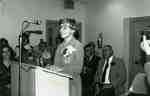 Grace Schmidt speaking at the opening of the Grace Schmidt Room, Kitchener Public Library