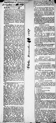 Ontario Scrapbook Hansard, 31 Dec 1867