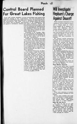 Ontario Scrapbook Hansard, 15 Mar 1945