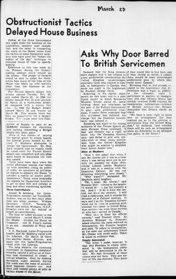 Ontario Scrapbook Hansard, 23 Mar 1945