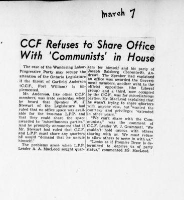 Ontario Scrapbook Hansard, 7 Mar 1946