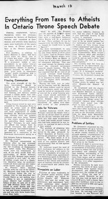 Ontario Scrapbook Hansard, 13 Mar 1946