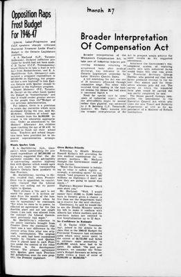 Ontario Scrapbook Hansard, 27 Mar 1946