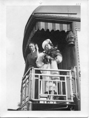 Royal Visit, 1939 - King George VI and Queen Elizabeth on the train waving adieu to the crowds at Glencoe, Ontario