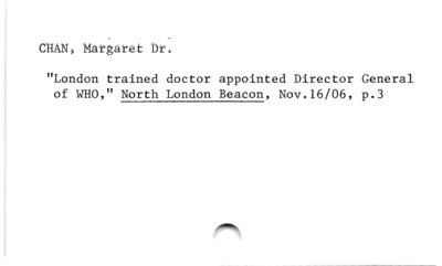 Chan, Margaret Dr.