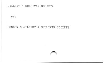 Gilbert and Sullivan Society