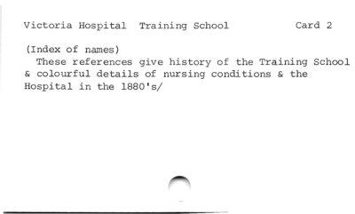 Victoria Hospital Training School  Card 2