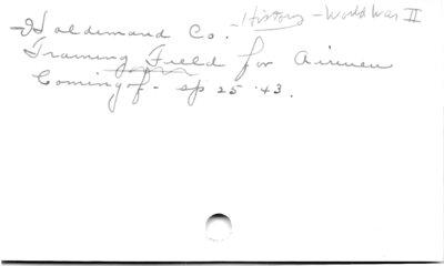 Haldimand Co.  History - World War II