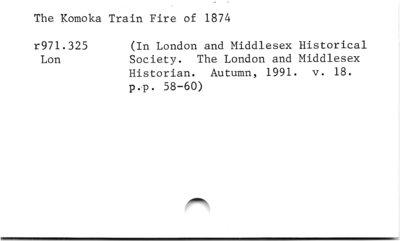 The Komoka Train Fire of 1874