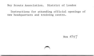 Boy Scouts Association. District of London