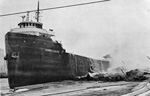HARRY L. ALLEN after the burning Capital No. 4 elevator at Duluth fell on her.