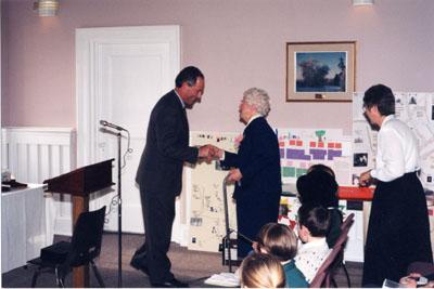 Milton Historical Awards.  MPP Ted Chudleigh greeting Laura B. Dixon, winner of the 1997 Writing Award.