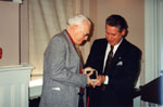 Milton Heritage Awards. Ken Lamb with Mayor Gordon Krantz, winner of the 1995 Award for Writing.