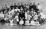 Ligny School.   Class photograph.   Students and teacher.