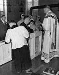 Wedding photograph.  Robert and June (Roffey) Granby.  Catholic Church, Pine St., Milton