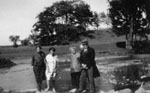 "Rev. and Mrs. Bole and Alma, and Gussie Willmott at dam, ""Rose Hill"""