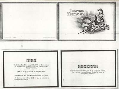 Funeral card for Mrs. Drusilla Clements