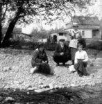 Group of four on beach