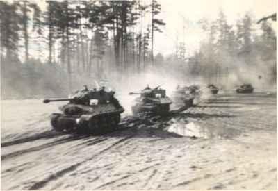 Tanks in training for the Korean War