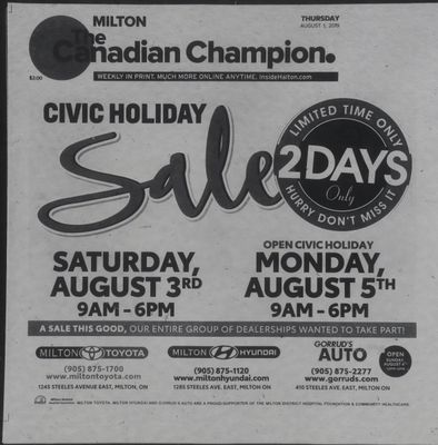 Canadian Champion (Milton, ON), 1 Aug 2019