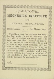 Milton Mechanics' Institute and Library Association Bookplate