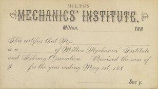 Milton Mechanics' Institute Library Card