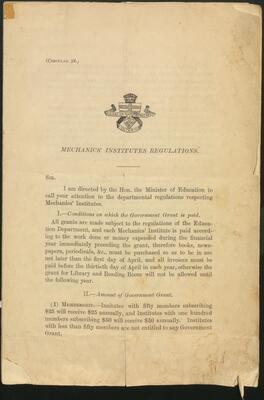 Mechanics' Institutes Regulations