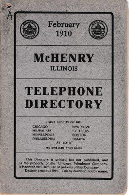 1910 February - McHenry Illinois Telephone Directory