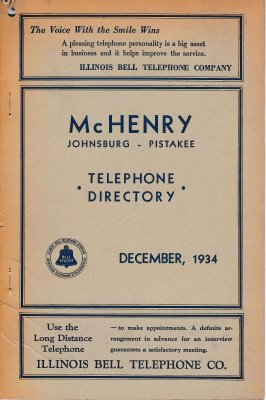 1934 December - McHenry, Johnsburg, Pistakee Telephone Directory