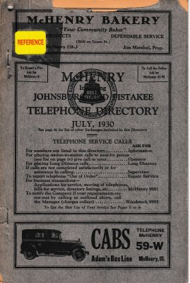 1930 August - McHenry Telephone Directory