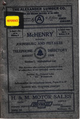1926 August - McHenry Telephone Directory