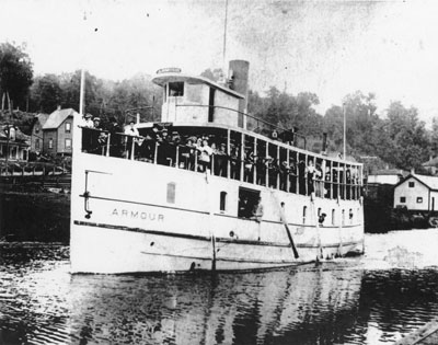 Armour Steamboat with Deck filled with Passengers, Burk's Falls, circa 1920