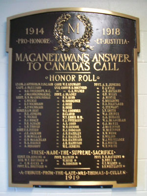 Magnetawan's Answer to Canada's Call Plaque, circa 1950