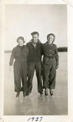 Jean, Cecil, and Mae Grunig Skating, 1937