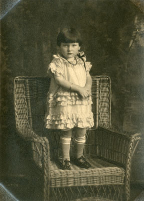 Viola (King) Peters Standing on a Wicker Chair, circa 1890