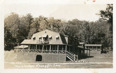 Postcard of the Main Lodge at Knoepfli Inn, circa 1940
