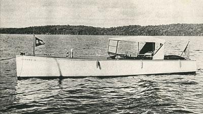 Motorboat Sitting on Lake, circa 1920