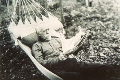 Older Gentleman Laying in a Hammock, circa 1930