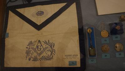 Masonic apron worn by Bro. D. H. Swinton and other masonic memorabilia