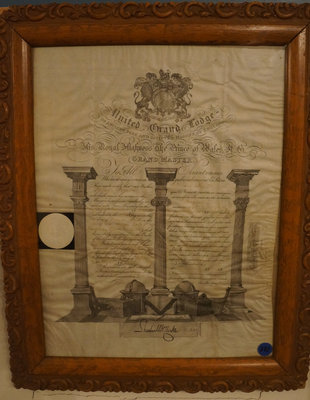 English United Grand Lodge Certificate of Robert Fizette